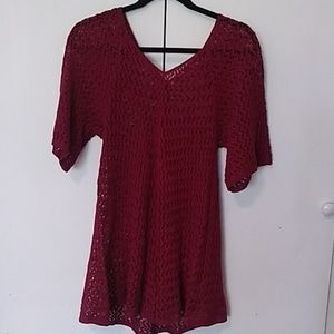 Tops - Beautiful Red Crocheted Long Red Top